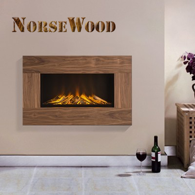 Oslo Walnut Veneer Electric Fire