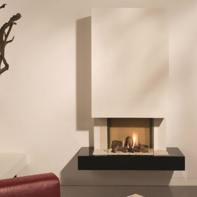 Colorado Gas Fire (Good As New) - Deep Nocturne Corian® Shelf, Logs, Natural Tile Interior