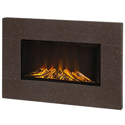 Newdawn Electric Fire (Good as New) - Cocoa Brown Corian® Surround, Logs, Tinted Glass Interior